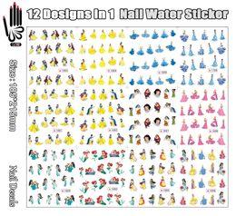 Wholesale Princesses Nail Stickers - Wholesale-12 Sheets Lot Nail Water SY1689-1700 Cartoon Blue Yellow Princess Nail Art Water Sticker Decal for Nail Art(12 DESIGNS IN 1)