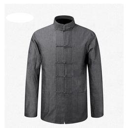 Wholesale Natural Tai Chi - Wholesale- Long Sleeve Cotton Shirt Traditional Chinese Clothes Tang Suit Coat clothing Kung Fu Tai Chi Uniform Autumn Thin Jacket for Men