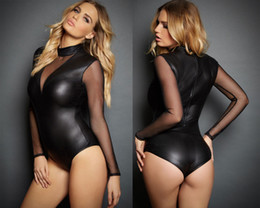 Wholesale Sexy Pvc Teddy - Sexy Wet Look PVC Faux Leather Body Zip back Teddy Playsuit Jumpsuit Lingerie X6705 MXLXXL