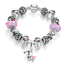 Wholesale Jewelry For Dog Lovers - New Wholesale Fashion Jewelry 925 Sterling Silver Dog charm Bracelets & Bangles for women European murano Beads Heart bracelet lovers Gift