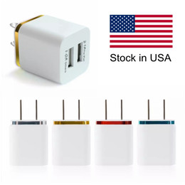 Wholesale Usb Dual Adapter Plug - Top Quality 5V 2.1+1A Double USB AC Travel US Wall Charger Plug Dual Charger For Samsung Galaxy HTC Smart Phone Adapter