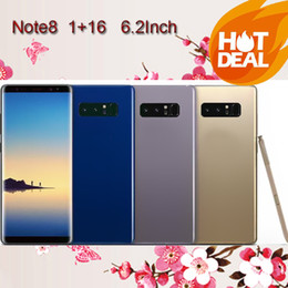 Wholesale Ram Ebook - 6.2HD Real Fingerprint Note8 Phone 1GB Ram 16GB Rom MTK6580A Quad Core Mobile Phone 1280*720 8MP Rear Camera Sealed Box show 4G 64G 4G LTE