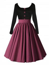 Wholesale Skater Dresses Knee - Free shipping Women Vintage 50s Autumn Long Sleeve Shirtwaist Flared Dresses Swing Skaters Wrap Ball Gown FYV043