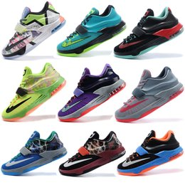 Wholesale Cheap Kd Shoes Free Shipping - Free shipping 2017 new Kevin Durant 7 Men basketball shoes cheap top quality KD 7 sport shoes outdoor shoes lightning Size Eur 40-46