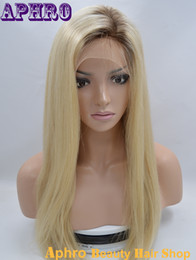 Wholesale Platinum Long Wigs - 60# Platinum Blonde Silky Straight Long Human Hair Silk Top Full Lace Wigs 150%Density Brazilian Virgin Hair Lace Front Wigs With Dark Roots