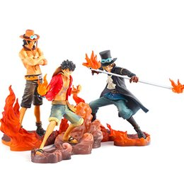 Wholesale Wholesale One Piece Figure - One Piece Monkey D Luffy 3pcs set Luffy & Ace & Sabo Action Figure Toy PVC Action Figure Toys Dolls