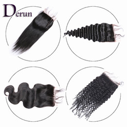 "Wholesale Brazilian Kinky Lace Closure - Unprocessed Brazilian Peruvian Malaysian Indian Human Hair 4""x4"" Top Lace Closure Body Wave Deep Wave Straight Kinky Curly Bleached Knots"