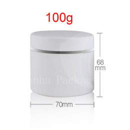 Wholesale Wholesale White Glass Cosmetic Jars - 100g round empty white double wall frosted cream cosmetic jar container bottles,3.5oz cosmetic packaging DIY containers