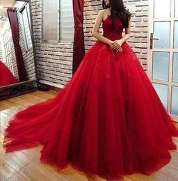 Wholesale Halter Ball Gowns Prom - 2017 Elegant Red Ball Gown Quinceanera Dresses Halter Appliques Tulle Backless Chapel Train Prom Dresses Sweet Sixteen Dresses
