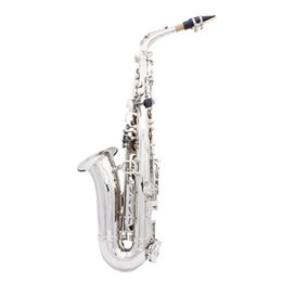 Wholesale Case Paint Brushes - wholesale LADE Alto Eb Silver Saxophone Sax Paint Silver With Case With Case Gloves Cleaning Cloth Grease Belt Brush Wind Instrument