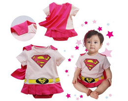 Wholesale Baby Rompers Superman - cosplay costumes Supermen hero Baby One-Piece baby Rompers boys girls cotton Romper Clothes short-sleeved clothes for kids