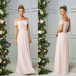 Wholesale Dress Shell Pink - 2017 Cheap Fall New Shell Pink Off The Shoulder Lace Top Long Maid Of Honor Bridesmaid Dresses Beach Party Gowns
