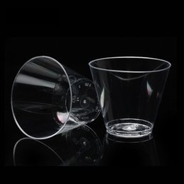 Wholesale Disposable Shot Cups - 270ml 9oz Transparent Disposable Plastic cup Juice Drinking cup Wedding Birthday Party hot drinks cup Shot Glass nice Modern Thicken 100pcs