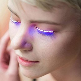 Wholesale 2017 Lashes Interactive LED Eyelashes Fashion Glowing Eyelashes Waterproof for Dance Concert Christmas Halloween Nightclub Party