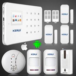 Wholesale Gsm Smoke Detector Alarm - LS111- KERUI G18 GSM SMS call Intelligent voice home alarm system vibration sensor smoke fire detector alarm