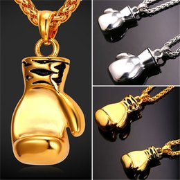 Wholesale Big Jewelry Gift Box - U7 Cool Sport Big Small Boxing Glove Pendant Necklace Fitness Stainless Steel Workout Jewelry Gold Plated Men Charm Pendant Gift Accessories