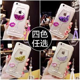 Wholesale Iphone Rhinestone Lanyards - 50pcs Liquid quicksand phone case For iphone 7 7plus 6s 6splus 6plus 6 5s Rhinestone lips Colorful wine glass lanyard phone case