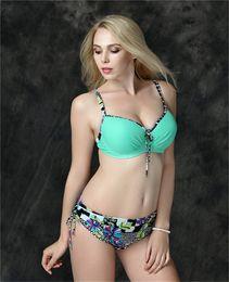 Wholesale Plus Size Bandeau Bras - 2017 Bandeau Beach Bikini Plus Size Brand Bikini Set Swimsuit Bra Push Up women 2017 Swimwear