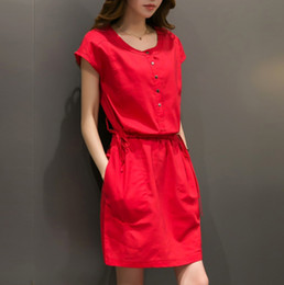 Wholesale Girls Simple Cotton Dresses - Wholesale- Simple Cotton Dress Girls Summer 2016 Vestidos Pocket Decorative Buttons O-neck Red Dress Waist Tethers Plus Size Women Clothing
