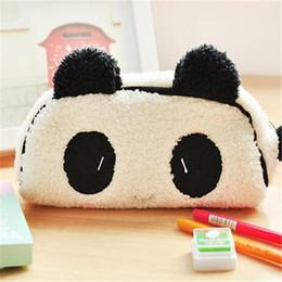 Wholesale Pen Case Panda - Wholesale-Cute Soft Plush Panda Pencil Pen Card Case Cosmetic Notebook Makeup Bag Pouch school pencil cases for girls