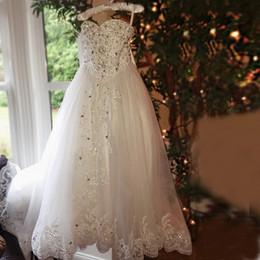 Wholesale Girls Little Bride Dresses - Girls Pageant Dress 2017 Little Bride First Communion Dress Sweetheart Bow Crystal Appliques Little Flower Girls Tulle Dress