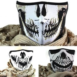 Wholesale S3 Cover 1pc - Wholesale- 1pc Ghost Biker Mask black Face Mask Cap Half Cover Cosplay Skiing party scarf gothic punk Motorcycle masks s3