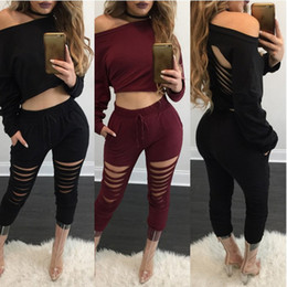 Wholesale Long Cut Sleeves Tops - Spring Autumn Casual Women suit set Long Sleeve Tracksuit Casual Bandage 2PCS Crop Tops Cut out Pants Bodycon Clubwear