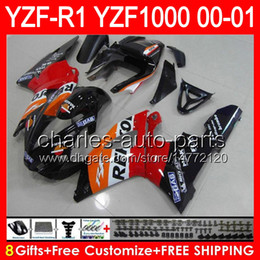 Yamaha r1 naranja negro online-Repsol orange 8gifts Cuerpo para YAMAHA YZF R1 00 01 YZF1000 YZF-R1 00-01 91NO94 YZF 1000 YZF-1000 YZF R 1 rojo negro YZFR1 2000 2001 Carenado