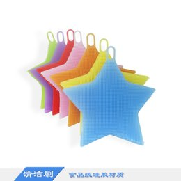 Wholesale Vegetables Wash - Five pointed star shape dish washing brush Washing fruit vegetable dish Food grade silicone multi-purpose cleaning brush