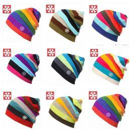 Wholesale Rainbow Knitted Hat - New Winter Fashion Men Rainbow Beanie Hip-Hop Cap Ski Skating Cap Women Knitting Hat Stripe Warmer Hat kullies Beanies TOP2026