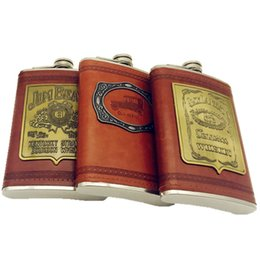Wholesale 4oz Leather Flask - Wholesale- 9oz whisky flagon Stainless steel alcohol hip flask T with pu leather bpa free