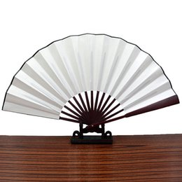 Wholesale Chinese Fabric Fans For Dances - Chinese Fashion Vintage Styles Blank Fabric Cloth Handheld Folding Fan For Pratice Performance Dancing Ball Parties Unisex - 3 Color