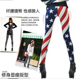 Wholesale Flag Print Leggings - Wholesale- Female leggings Star Digital Printing 2017 American flag sexy leggings Spring thin section