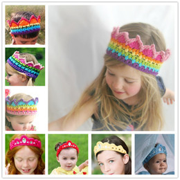 Wholesale Hand Crochet Baby - Baby hand-made crocheted Crown headband girls knitted Rainbow hair band rhinstone knitting princess crown headband kids Photography props