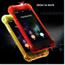 Wholesale Transparent Cell Phones For Sale - New design clear TPU led light calling flashing cell phone case cover for iphone 5 5S SE 6s 6 7 7S plus with 5 colors for sale DHL shipping