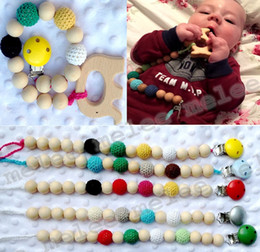 Wholesale Clips For Pacifiers - INS Infant Baby Pacifier Clips Teethers Soothers Dummy Holder Chain Natural wooden beads Crochet covered beads Safe for teething 10colors
