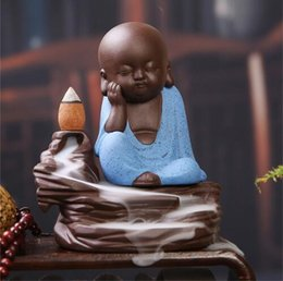 Wholesale Ceramic Clay Pottery - Creative Home Decor Little Monk Censer Ceramic Yixing Backflow Stick Incense Burner Buddha Purple Clay Pottery Base