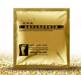 Wholesale Feet Softening - 24K Gold Revitalizing Exfoliating Softening Feet mask Removes Cuticles callus Dead cells foot care DHL Free shipping