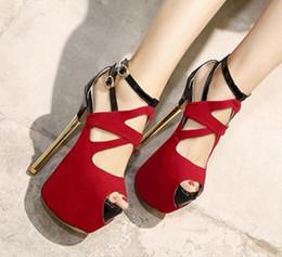 2020 tacón alto gladiador rojo Súper zapatos de tacones altos de la boda del gladiador de la sandalia del alto talón ahueca hacia fuera Rojo Negro Bootie del tobillo rebajas tacón alto gladiador rojo