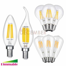 Wholesale C35 Led Lamp - Edison LED Light Bulbs Dimmable E12 E14 E26 E27 LED 2W 4W 6W 8W 10W C35 C35T A60 ST64 LED Filament Bulb Lamps