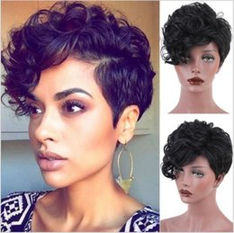 Wholesale Short Curly Synthetic Hair - top quality short cut curly wig synthetic hair short cut kinky curly full wig for black women