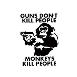 Wholesale People Window - 2017 Hot Sale Car Stying Guns Don't Kill People Monkeys Do Vinyl Decal Car Window Bumper Funny Sticker