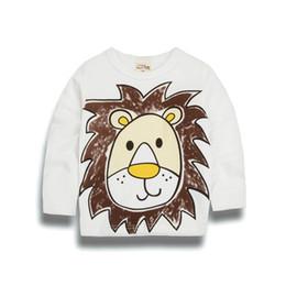 Baby boy t shirts cuello alto online-Alta calidad SpringAutumn Baby girlsboys Ocio O-cuello Animal de manga larga de algodón de dibujos animados T-shirt niños Ropa de múltiples colores