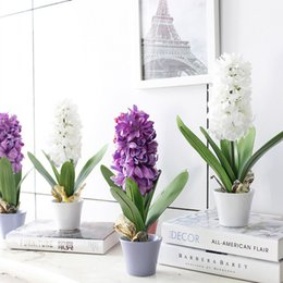 Wholesale Hyacinth Planting - 1Set Hyacinth Artificial Flowers Plant Potted Bonsai for Wedding Party Home Decorative