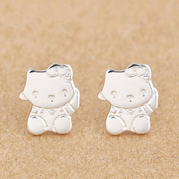 Wholesale Ear Rings Love - 100% silver ear rings Love romance Infinity fashion hello kitty earring Women Party gift lover's infinite Valentine's Day jewelry