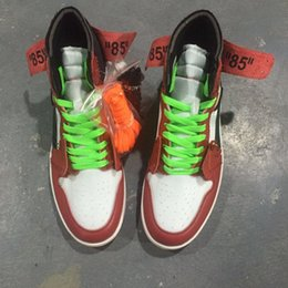 Wholesale Shoes Suede Fur Men - 2017 New Air Retro 1 OFF WHITE x black red men Basketball Shoes top Quality Sports Box wholesale trainers size 7-13