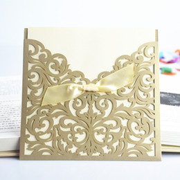 Wholesale Ribbon Wedding Invitations Cards - Wholesale-30 Pcs Lot Lace Ribbon Bow Knot Wedding Invitation Card Vintage Laser Cut Gold Hollow Flowers Blank Inside With Envelope