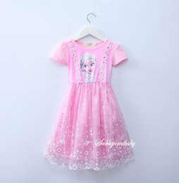 Wholesale Embroidered Dress Rhinestones - 2017 Elsa princess dresses for girls short sleeve rhinestone lace dress Gifts for girl Kids clothes for party birthday pink blue