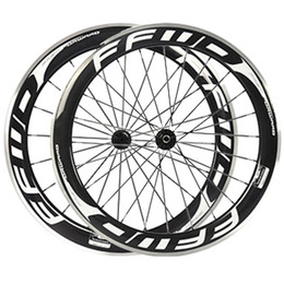 Wholesale Carbon Wheel Brake Surface - 60mm FFWD Fast Forward White Decals Carbon Wheels With Alloy Brake Surface 3K Clincher Full Carbon Bike Bicycle Wheelset Novatec 271 372 Hub