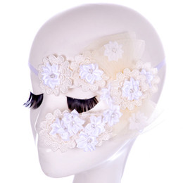 Wholesale sexy masquerade white lace mask - Sexy Flowers Lace Party Masks Girls Masquerade Mask Venetian Half Face Mask Christmas Halloween Cosplay Eye Masks Free Shipping WX-M15